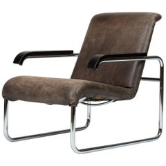 B35 Lounge Chair with Leather Cushion by Marcel Breuer for Thonet