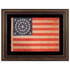35 Star Antique American Parade Flag, Haloed Center Star, WV Statehood