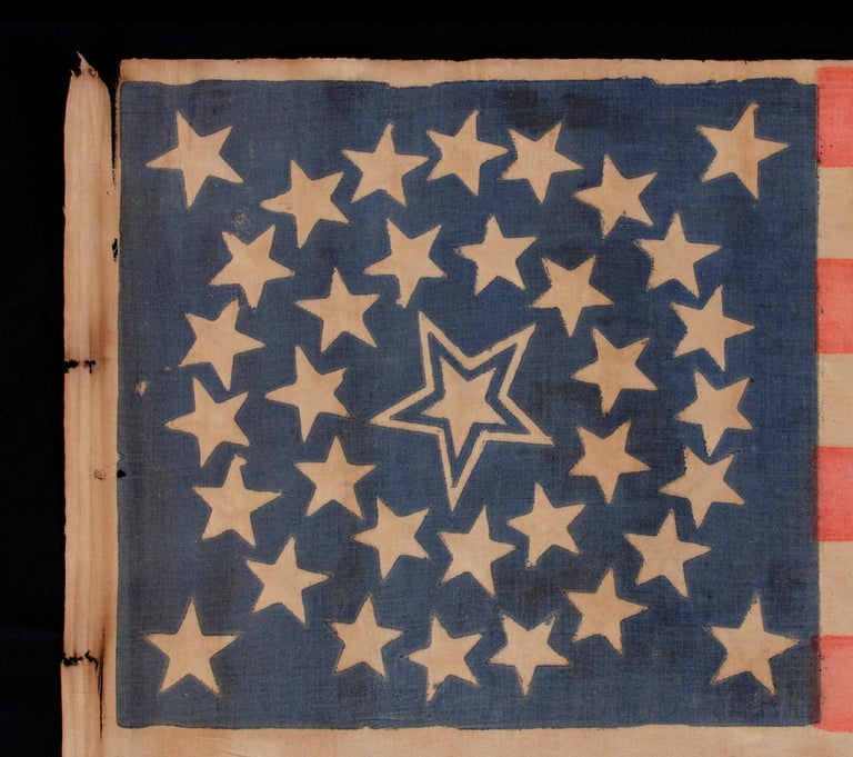 American 35 Stars in a Medallion Configuration with a Large Haled Center Star For Sale