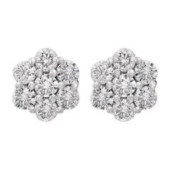 2.80 Carat, 7 Diamond Floral Cluster Flower Stud Earrings in 14 Karat WhiteGold