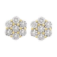 3.50 Carat, 7 Diamond Floral Cluster Flower Stud Earrings in 18 Karat Gold