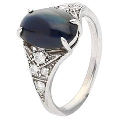 3.50 Carat Art Deco Cabochon-Cut Ceylon Sri Lanka Blue Sapphire and Diamond Ring