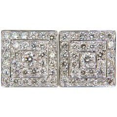 3.50 Carat Art Deco Cluster Square Clip Earrings Bead Set G/VS 14 Karat
