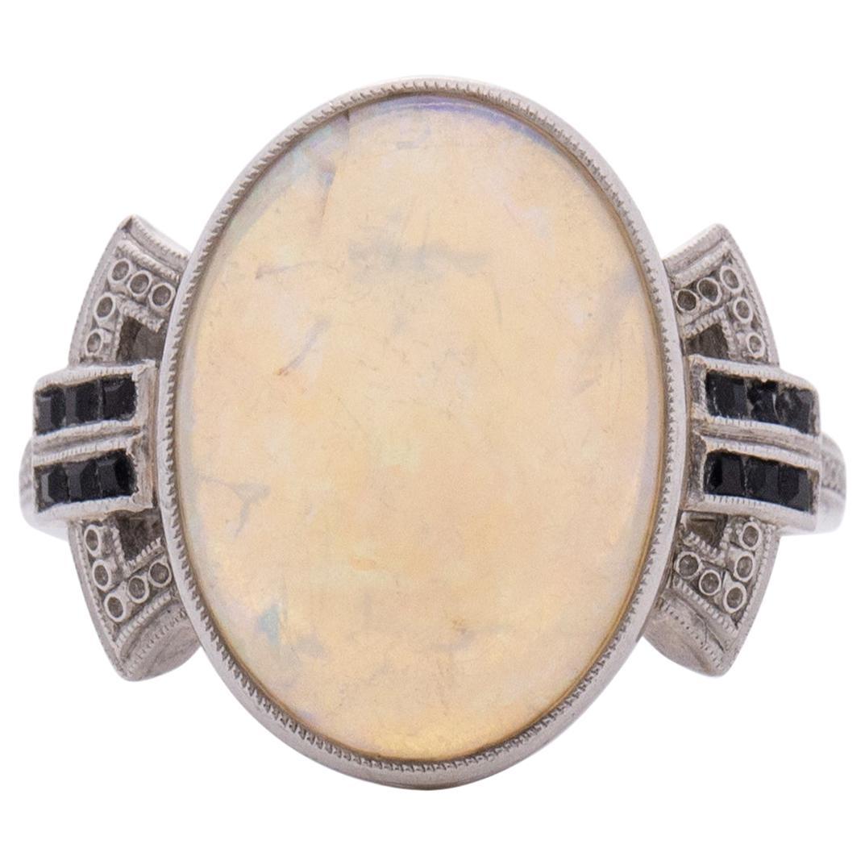 3.50 Carat Art Deco Opal Platinum Engagement Ring