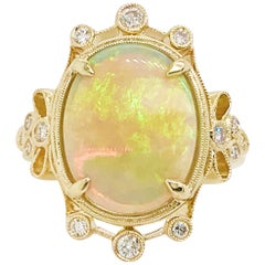 3.50 Carat Australian Opal and Diamond Ring 14 Karat Gold Pointed Designer Ring