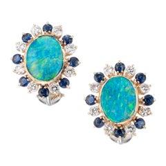 3.50 Carat Boulder Opal Sapphire Diamond Gold Clip Post Earrings