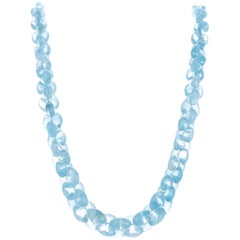 350 Carat Briolette Light Blue Topaz Bead White Gold Necklace