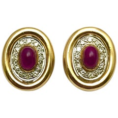 3.50 Carat Cabochon Ruby an Diamond Gold Clip and Post Earrings