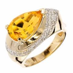 3.50 Carat Citrine Diamond Two-Tone Gold Cocktail Ring