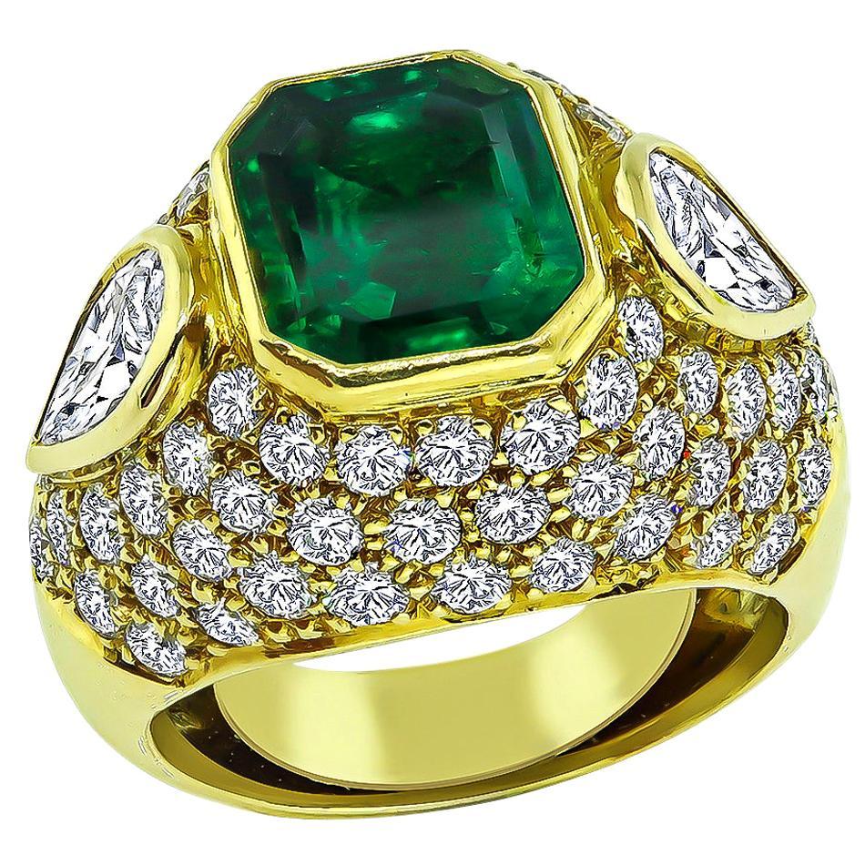 3.50 Carat Colombian Emerald 3.00 Carat Diamond Gold Ring
