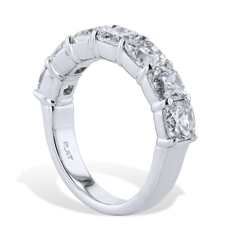 Women's 3.50 Carat Cushion Cut Diamond Platinum Eternity Band Size 6 For Sale