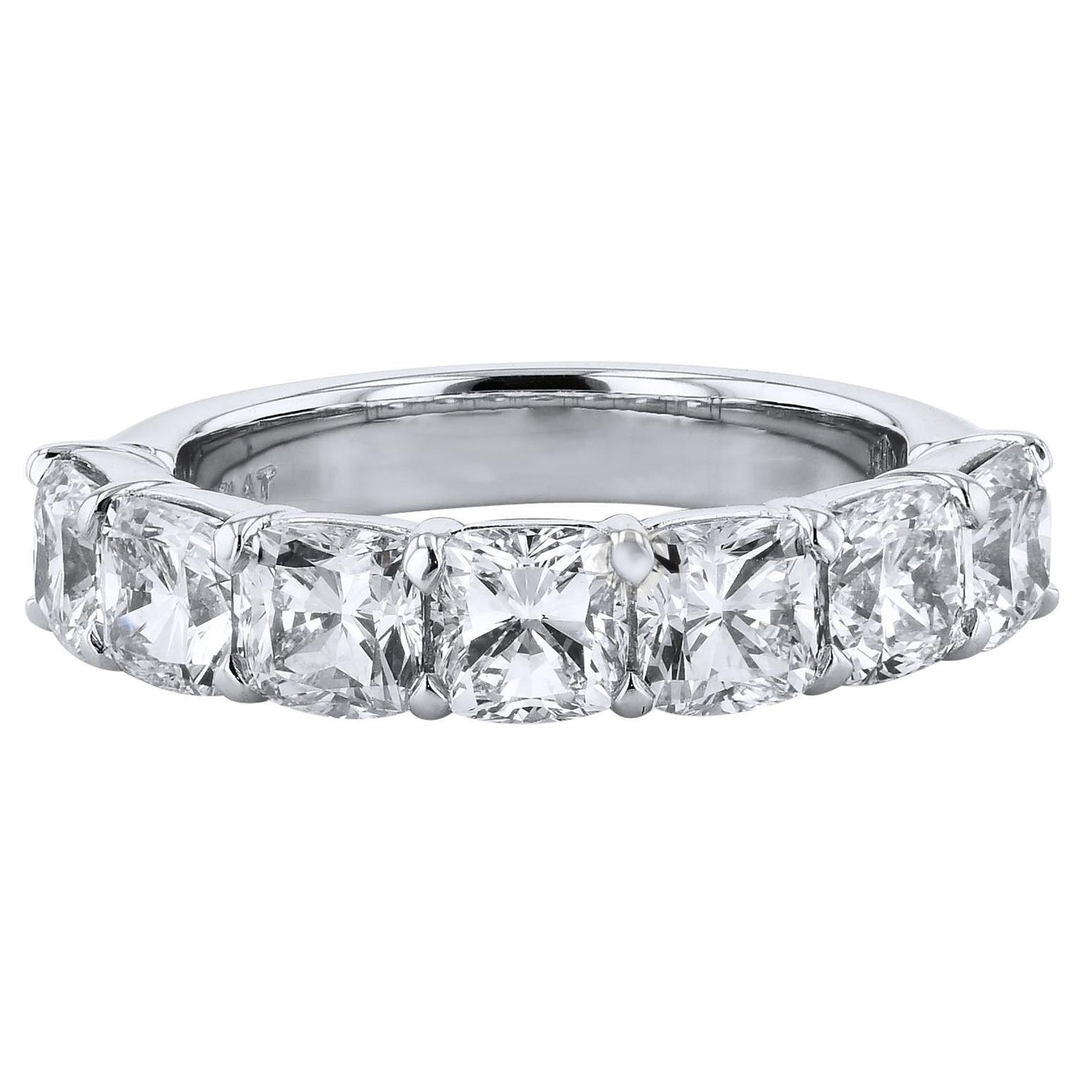 3.50 Carat Seven Stone Cushion Cut Diamond Platinum Eternity Band 6