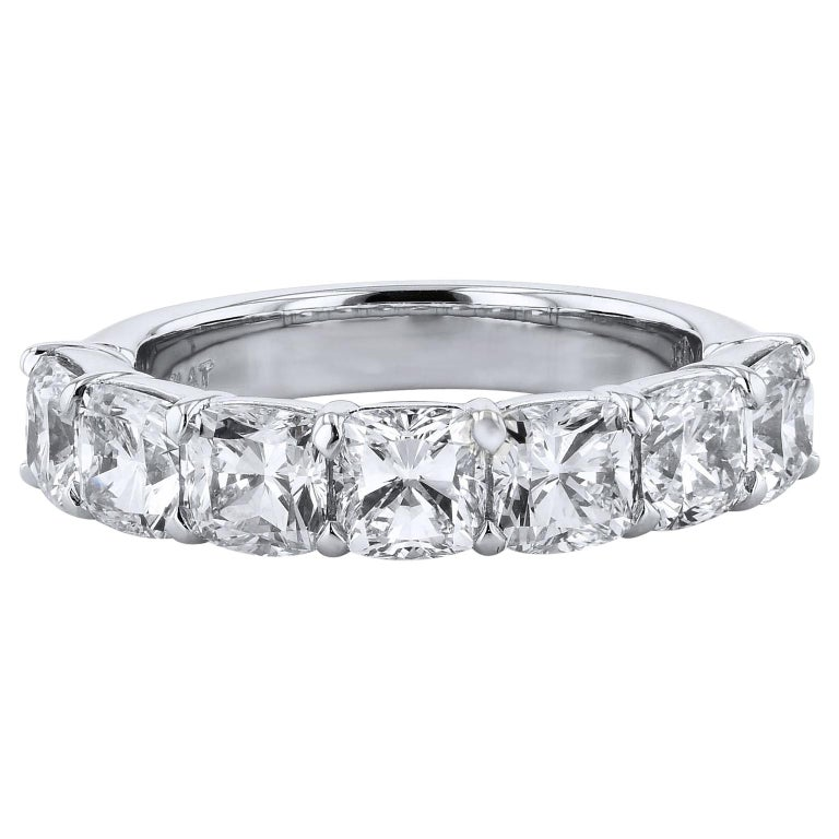 3.50 Carat Cushion Cut Diamond Platinum Eternity Band Size 6 For Sale