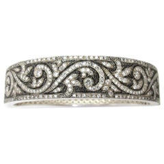 3.50 Carat Diamond Bangle Bracelet, Sterling Silver