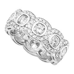 3.50 Carat Diamond Pave Halo Full Eternity Ring in 18 Karat White Gold