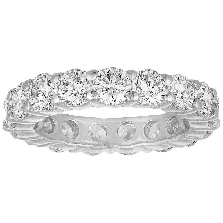 3.50 Carat Diamond Platinum Eternity Band Ring For Sale