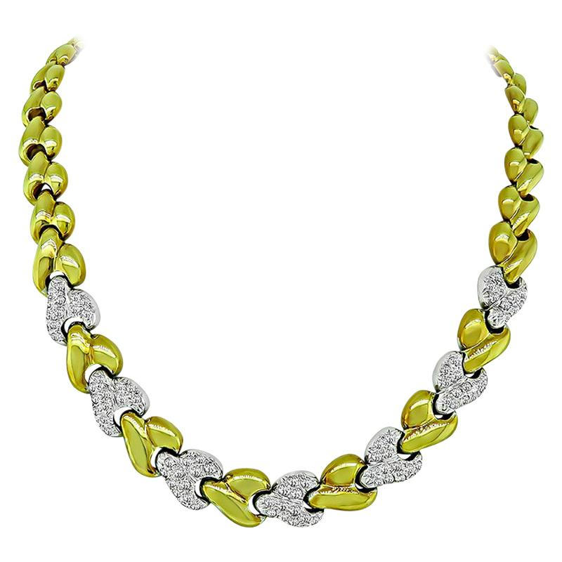 3.50 Carat Diamond Two-Tone Gold Necklace