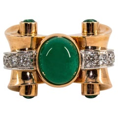 3.50 Carat Emerald 0.50 Carat White Diamond Yellow Gold Cocktail Ring