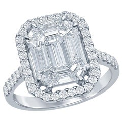 3.50 Carat Emerald Cut Illusion Diamond Ring