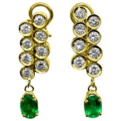 3.50 Carat Emerald Diamond Clip-On Earrings 18 Karat Yellow Gold Earrings