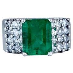 3.50 Carat Emerald with Diamond Wide Band 18 Karat White Gold Ring