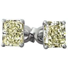 3.50 Carat Fancy Light Yellow Radiant Diamond 18 Carat White Gold Studs