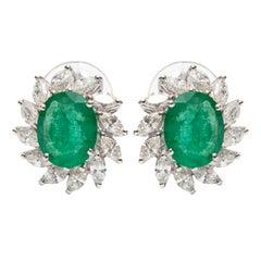3.50 Carat Green Emerald 1.50 Carat Marquise Shaped 18 KT Gold Diamond Earrings