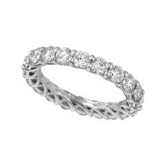 3.50 Carat Natural Diamond Eternity Band Ring Lucida Style 14k White Gold