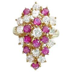 3.50 Carat Natural Diamond Ruby Cocktail Ring in 14 Karat Gold