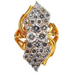 3.50 Carat Natural Diamonds Rounds Cocktail Prime Cluster Ring 14 Karat