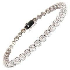 3.50 Carat Natural Diamonds Tennis Bracelet 14 Karat