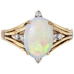 3.50 Carat Natural Opal Diamond Ring Vintage 14 Karat Gold Estate Fine Jewelry