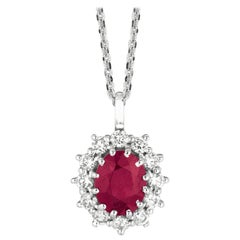 3.50 Carat Natural Ruby and Diamond Necklace Pendant G SI 14 Karat White Gold