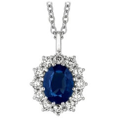 3.50 Carat Natural Sapphire and Diamond Necklace Pendant 14 Karat White Gold