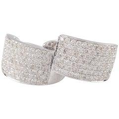 3.50 Carat of Diamonds Plaque Hoop Earrings in 14 Karat White Gold