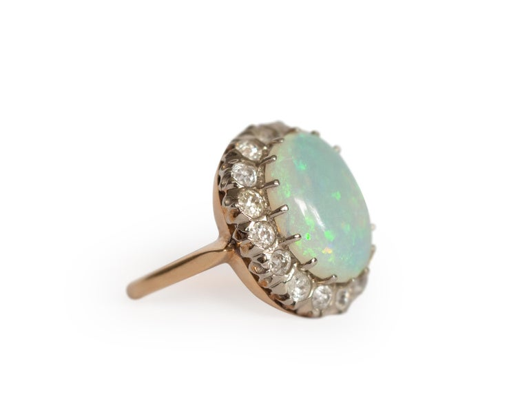 Edwardian 3.50 Carat Opal Yellow Gold and White Gold Prongs For Sale