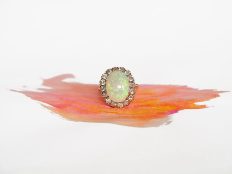 3.50 Carat Opal Yellow Gold and White Gold Prongs For Sale 3