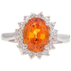 3.50 Carat Oval Cut Orange Sapphire Gemstone 14 Karat White Gold Diamond Ring