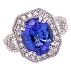 3.50 Carat Oval Tanzanite Diamond 18 Karat White Gold Cocktail Engagement Ring