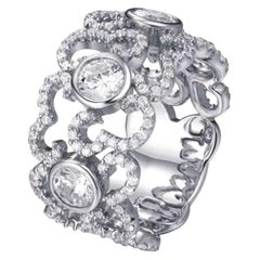 3.50 Carat Pave Set Band Fine Sterling Silver Ring White Rhodium Claw Bezel Set