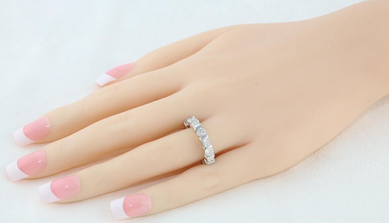 Princess Cut 3.50 Carat Round and Princess Diamond Gold Eternity Band Ring For Sale