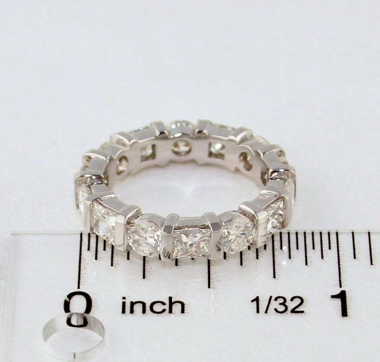 Women's 3.50 Carat Round and Princess Diamond Gold Eternity Band Ring For Sale