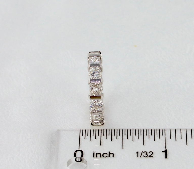 3.50 Carat Round and Princess Diamond Gold Eternity Band Ring For Sale 1