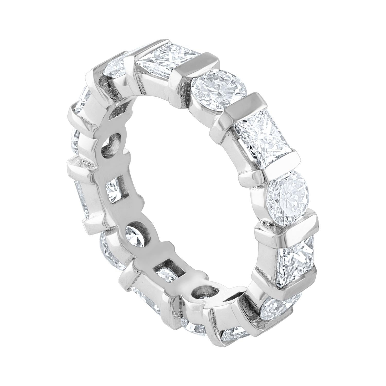 3.50 Carat Round and Princess Diamond Gold Eternity Band Ring