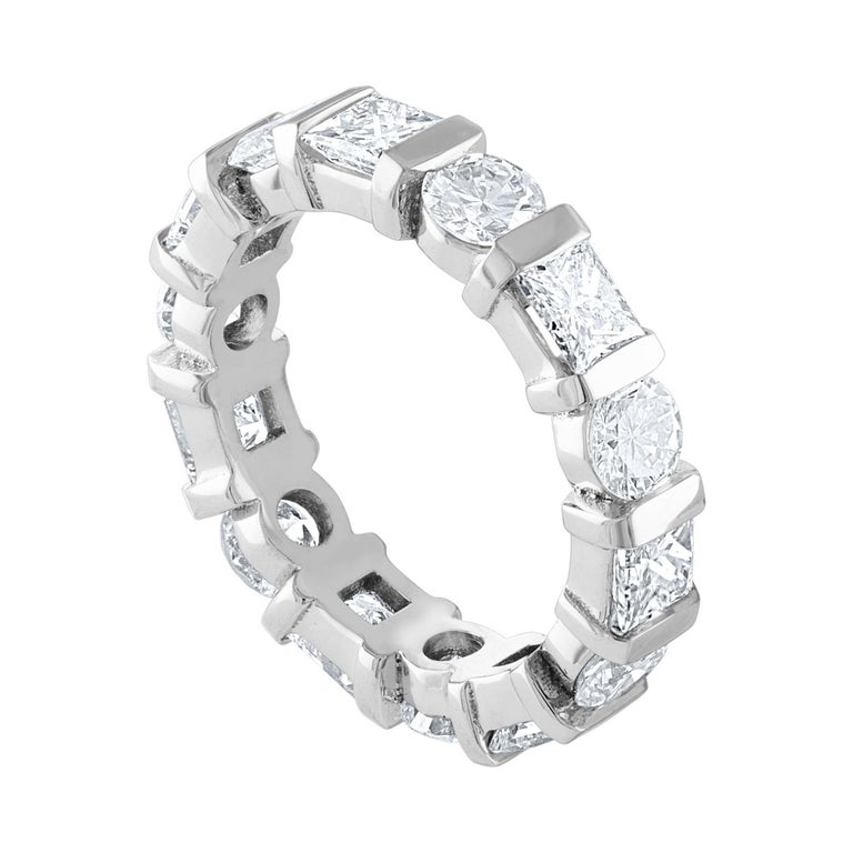3.50 Carat Round and Princess Diamond Gold Eternity Band Ring For Sale