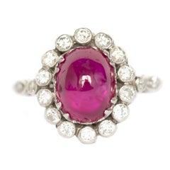 3.50 Carat Ruby Platinum Engagement Ring