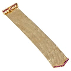 3.50 Carat Ruby Yellow Gold Brick Flexible Bracelet