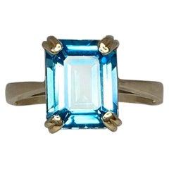 3.50 Carat Swiss Blue Topaz Emerald Cut Yellow Gold Solitaire Ring