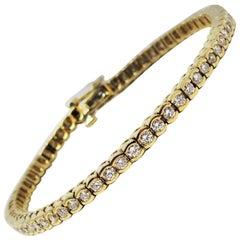 3.50 Carat Total Round Diamond Tennis Bracelet 14 Karat Yellow Gold