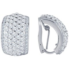 3.50 Carat Total Weight of Fine Round Diamonds in Platinum Earrings
